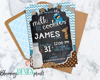 Milk and Cookie Monster Birthday Invitation