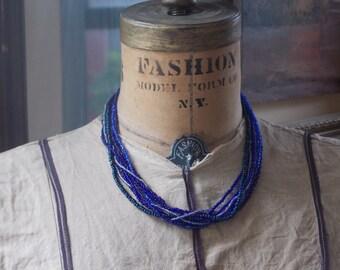 "Blue Multistrand Sead Bead Necklace - 18"""