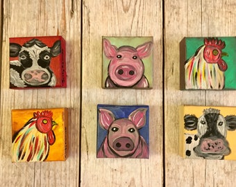 Miniature Farm Animal Paintings