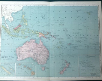 1908 Antique Map of Oceania & Malaysia (Hawaii, Australia, Sumatra, Fiji )-Xtra Large(Commercial size-27.5x20.5) map with fine details.