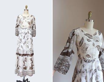 1970s Al Fresco Dress { S } Vintage 70s Sheer Floral Maxi