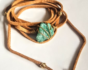 Turquoise Goddess Wrap Leather Choker Necklace and Bracelet