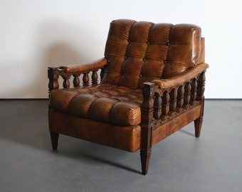 About the 1970's Spanish Colonial Revival Tortoiseshell Tufted Lounge Chair