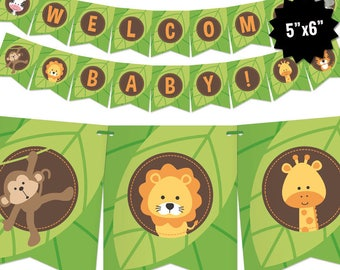 Safari Baby Shower Banner - Jungle Theme Bunting Banner - Printable Pennant Garland - Safari Gender Neutral Baby Shower Decoration - Digital