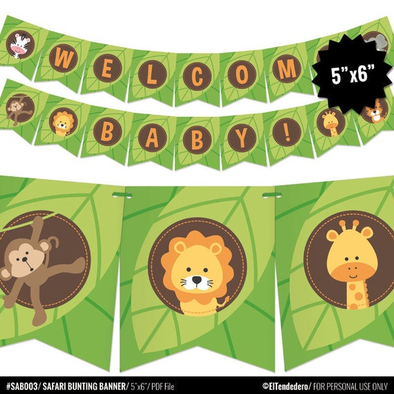 Safari Baby Shower Banner   Jungle Theme Bunting Banner   Printable Pennant  Garland   Safari Gender Neutral Baby Shower Decoration   Digital