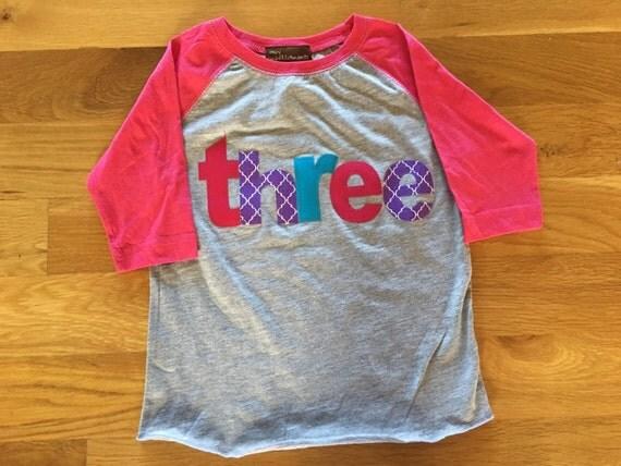 Girls birthday raglan purple, pink three shirt, 3 girls raglan shirt, 3rd birthday shirt purple pink teal, baseball style girl, birthday shi