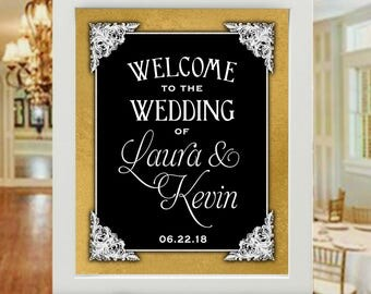 "16""x20"" Black,White,Gold Vintage Victorian Style Wedding Sign - Welcome Wedding Poster 