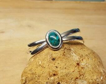 Turquoise Cuff bracelet. Reiki jewelry. December Birthstone. Silver plated  Adjustable bracelet uk