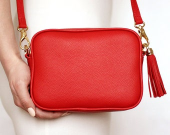 Free shipping! Red bag, leather bag, red leather bag, red purse, red crossbody, red shoulder bag, everyday bag, small red bag, tassel bag