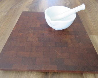 Mid-Century Teak Wood Siamese Atapco Butcher Block Cutting Board Footed - Made in Hong Kong