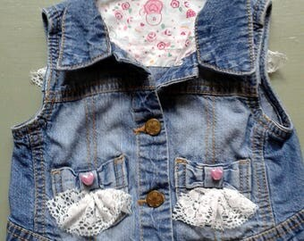 Girl's Embellished Denim waistcoat - handcrafted recyling project - Fits up to age 2yrs.