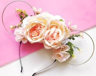 Peach Flower Crown Minnie Mouse Ears Headband