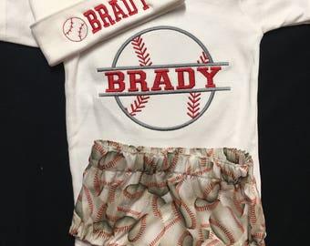 Newborn Baby Boy Baseball Appliqued Bodysuit Monogramed and Appliqued 3 Piece Gift Set Baseball Appliqued Bodysuit, Matching Diaper Cover