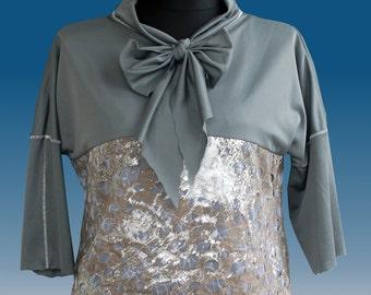 Blouse Shirt Gray Silver Galaxy.  UK 14/16, US 12/14