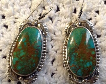 Blue Turquoise with Brown Matrix and Leafs Earrings