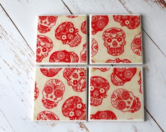 Day of the dead ceramic drinks coasters, Mexican Red Sugar Skulls Home Decor