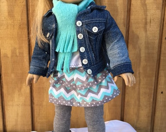 """6 piece outfit for 18"""" doll like American Girl doll, white tshirt, aqua blue and gray skirt, leggings, denim jacket, scarf, slouch boots"""