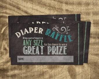 Diaper Raffle Ticket Insert, Chalkboard Diaper Raffle Ticket,  Baby Boy, Baby Shower Game, Baby Shower Accessory, Co-ed Baby Shower,