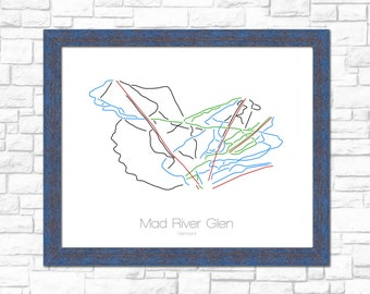 Mad River Glen Map Vermont VT Ski Snowboard Trail Art --- Print, Poster, Picture --- Frame, Gift, Present --- Resort, Mountain, Snow, Winter
