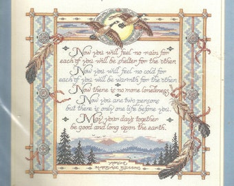 "Bucilla 41335 Apache marriage blessing counted cross stitch kit 16 x 14.75"" Sandy Orton kooler design studio aida floss needle instructions"