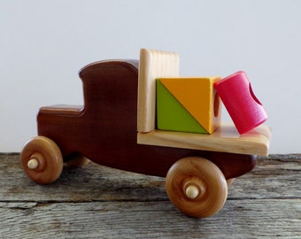 Wood Flatbed Toy Truck-Handmade- Push Pull Toy