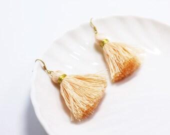 Orange Tassel Earrings, Fringe Earrings, Orange and Gold Drop Earrings, Bohemian Earrings, Tribal Earrings, Bridesmaids Wedding Earrings,