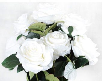 French Style Artificial Silk Rose Bouquet White