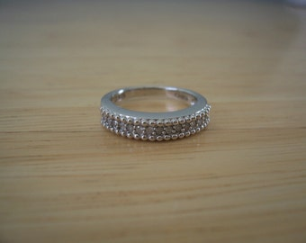 Vintage Natural Diamond Band Style Ring in Sterling Silver Wedding Engagement Promise Ring