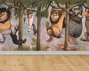 the wild things are wall wall mural wild things decal wild things. Black Bedroom Furniture Sets. Home Design Ideas