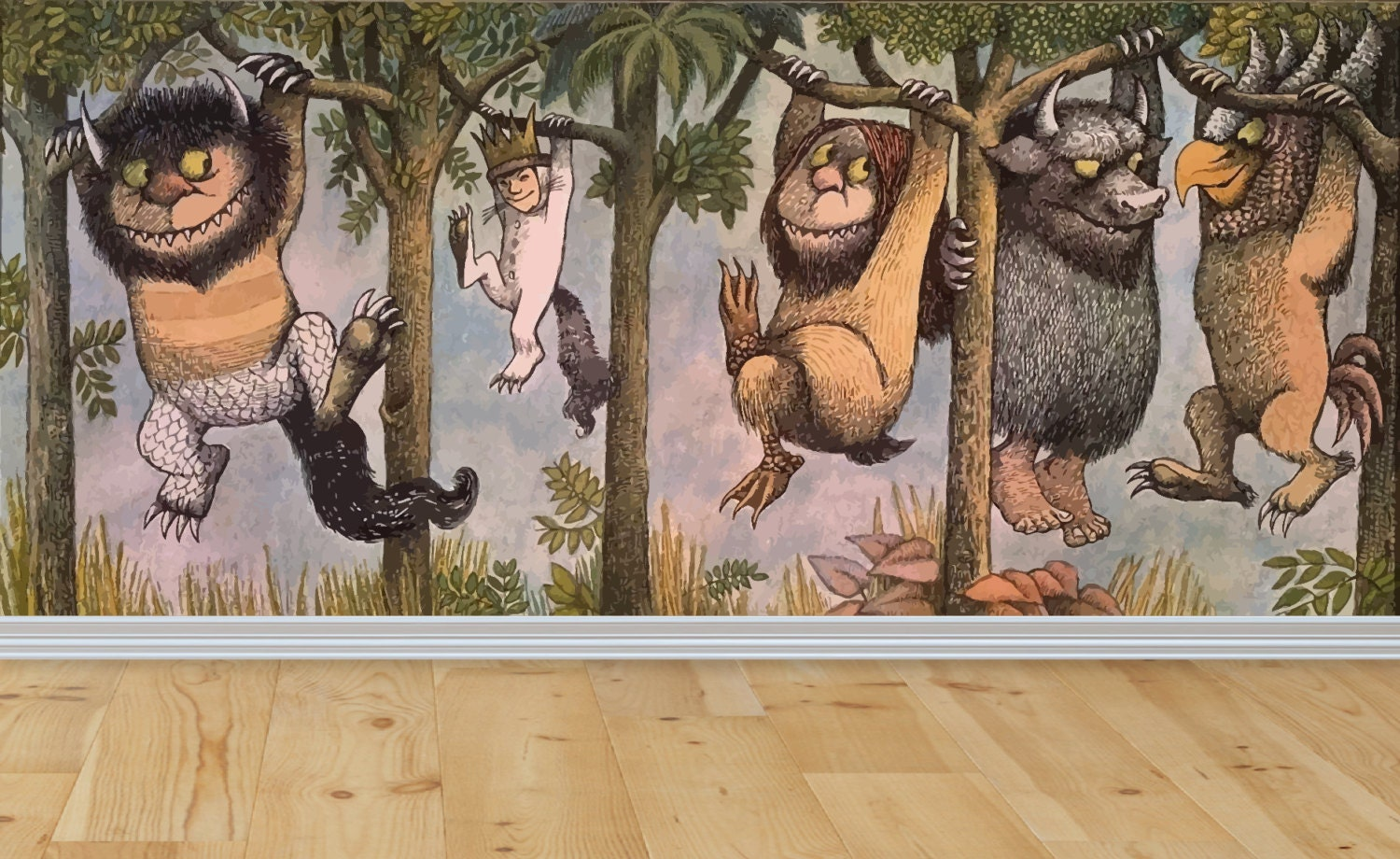 where the wild things are wall wall mural wild things decal. Black Bedroom Furniture Sets. Home Design Ideas