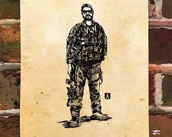 """KillerBeeMoto: Limited Hand Drawn Print of """"Special Operations Soldier"""" Print 1 of 100"""