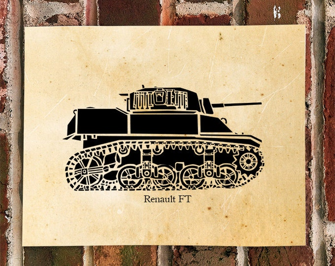 KillerBeeMoto: Limited Print Renault FT World War One Tank Print 1 of 100