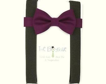 Plum Bow Tie, Black Suspenders, Baby, Boys, Mens, Adult, Ring Bearer Gift, Dark Purple, Page Boy Braces, Groomsmen, Teen, Black, Kids