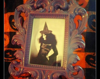 Framed Ancestor Witch photo *  Black and White Photo in a ceramic purple frame*