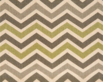 Zoom Zoom Reed/Natural Fabric by Premier Prints  Light Green,Gray & Cream Chevron