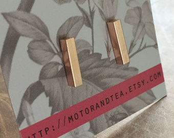 Bar Studs - earstuds - rosegoldtone - minimal, trendy, stainless steel, earrings, bar earrings, minimalistic, minimalism, rosegold
