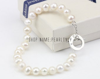 Pearl bracelet for bridesmaids,8mm white freshwater pearl bracelet necklace bridal jewery set,toggle bracelet,single strand toggle necklace