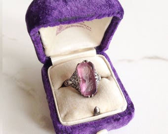 Vintage amethyst intaglia ring. Vintage amethyst ring. Intaglia ring. Silver filigree ring.