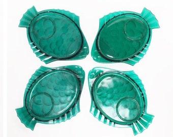 Vintage Glass Fish Plates Set of Four Retro Green Fish Shaped Mid Century Beach Snack Plates Cottage Decor