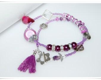 Bracelet to the wind Pretty Magic seed beads bracelet rhodonite tassels bracelet