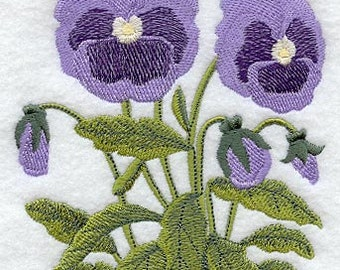 PAIR hand towels - pansy oval - EMBROIDERED 15 x 25 inch for kitchen or bath