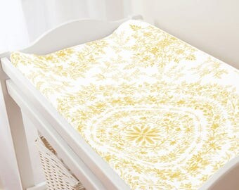 Carousel Designs Yellow Floral Damask Changing Pad Cover