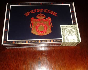 "PUNCH ""London Club English"" Empty Cigar Box Rectangle Navy Blue, Gold and Red  Cigar Box Guitar Crafts, Jewelry, Stash box, storage box"