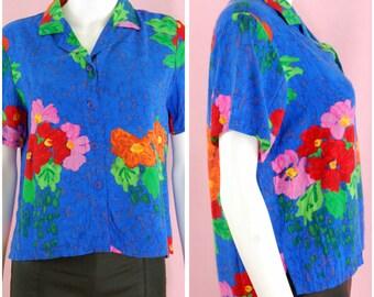 Blue Shirt Vintage 90's Tropical Print Hawaiian Top Size Small