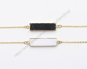 Black Onyx Necklaces -- With Electroplated Gold Edge Agate Jewelry Supplies Wholesale Bridesmaid Necklaces YHA-300