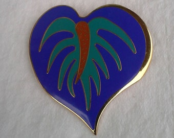 Laurel Burch vintage pin/brooch/pendant anthurium blue flower heart shape