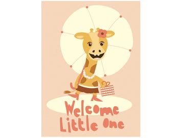 cute babyshower card - Welcome little one!  - cute happy girafe - girly unique babyshower card