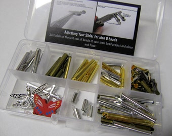 Bead Loom Slider Clasp Jumbo Kit #2, 58 Pieces, 1/4 Inch to 1 1/2 Inch, Different Colors,  Bonus Findings