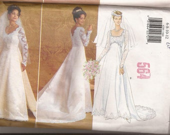 Butterick 4289  Misses Wedding Gown With detachable Train, Sizes  6-8-10-12 or 14-16-18. Vintage 1995