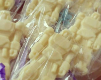 Belgian chocolate robot lollipop, Lolly, Lollies. Party favour, milk, white, dark, strawberry